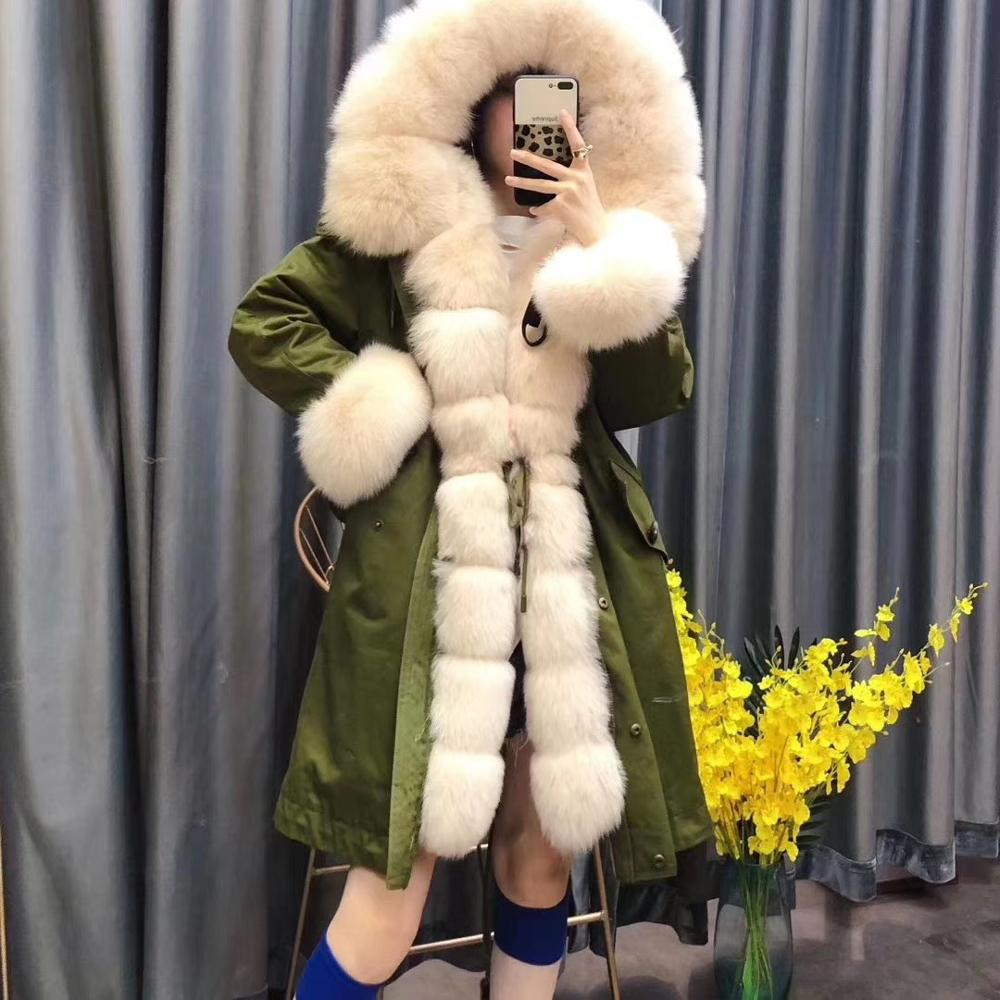 Real fur coat women winter 2019 new fashion parka long style real fox collar with real rex rabbit fur lining clothing oversize image