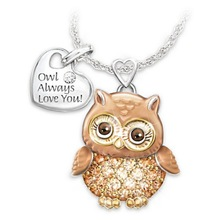 European and American fashion lady tag lettering pendant with Best-selling owl dripping oil rhinestone necklace for female цена 2017