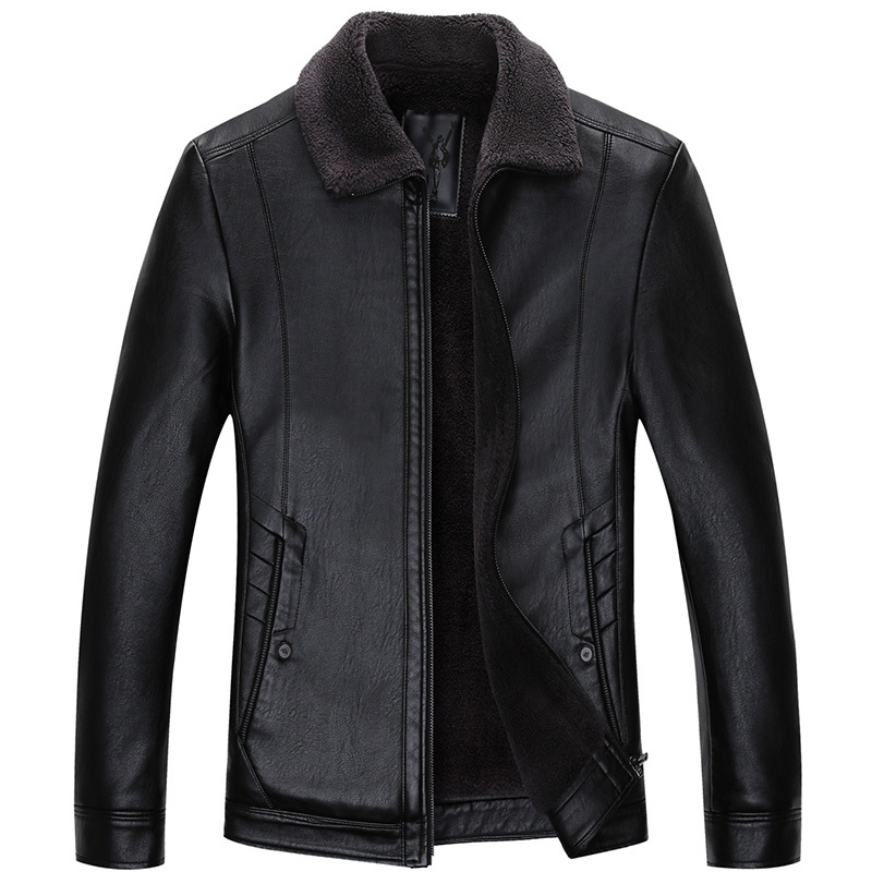 Plus Size Casual Leather Jacket Men Turn-down Collar Black 100% Cowhide Jackets Male High Quality Mens Genuine Leather Jacket