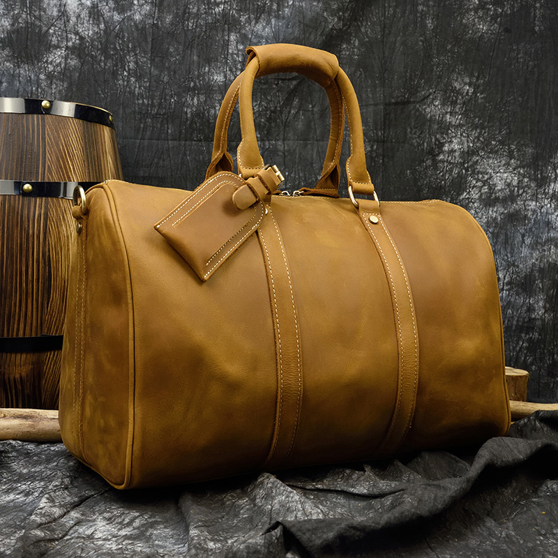 MAHEU High Quality Genuine Leather Travel Bags Mens Male Handle Bags With Shoulder Strap One Two Days Short Trip Haul Bag 45 Cm