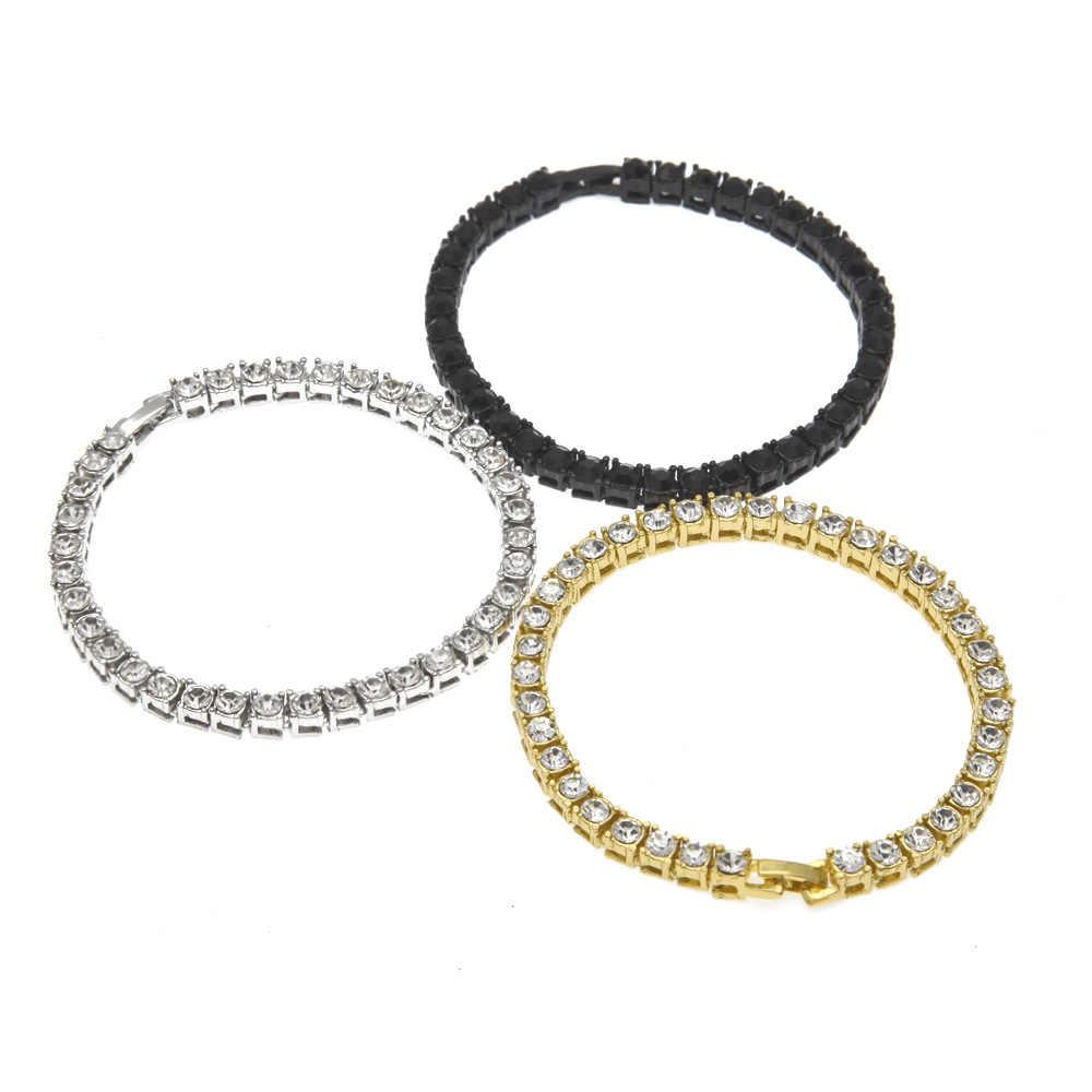 אייס מתוך טניס שרשרת צמיד גברים של היפ הופ תכשיטי חומר זהב כסף שחור צבע אבזם CZ צמיד קישור 20cm