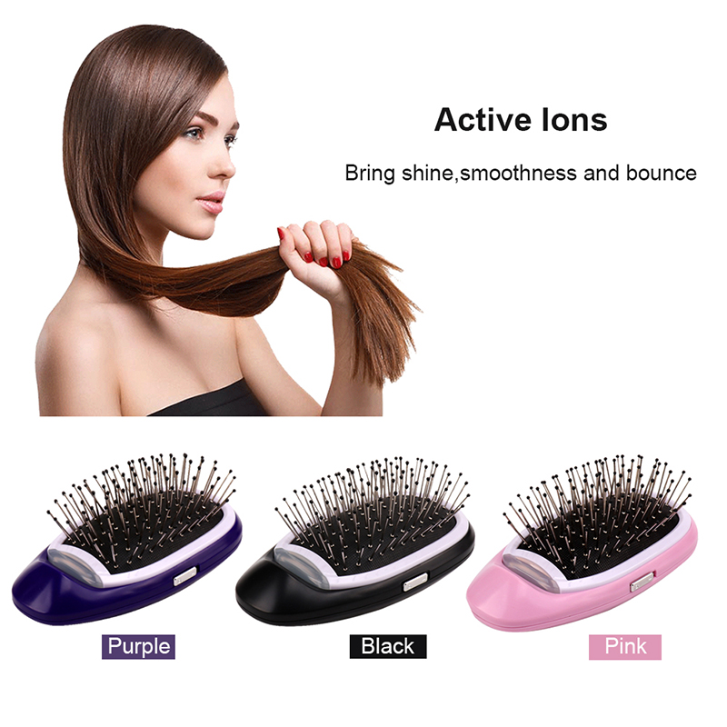 Dropship Ionic Hair Brush Portable Electric Hairbrush Anti Static Magic Negative Ion Hair Massage Comb No More Frizz