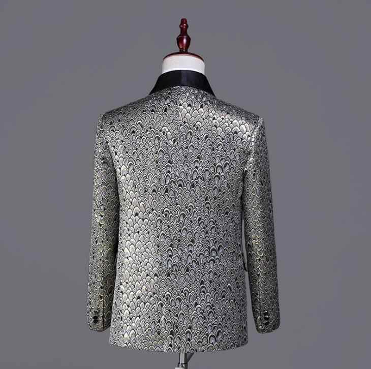 ブレザー男性印刷スーツセットパンツ人格メンズ結婚式のスーツ衣装歌手 erkek takim elbise ステージ服フォーマルドレス