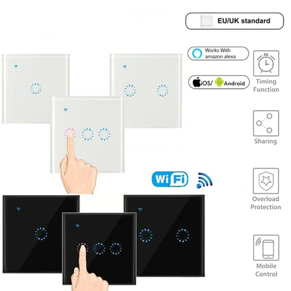 NEW European/English WIFI Intelligent Remote Control Smart Home Wireless Touch Switch Light Glass Screen 1 2 3 Gang Wall Panel