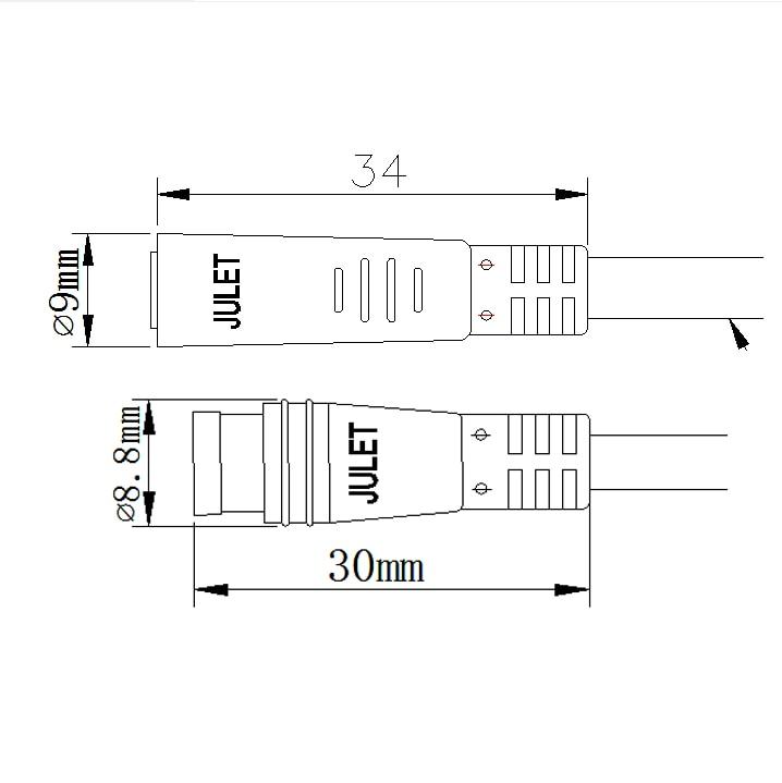 J.AKSO Julet 2pin3pin4pin5pin6pin WP Connector 800mm Plug for Ebike Light Throttle Ebrake Display Ebike Parts Extension Cable