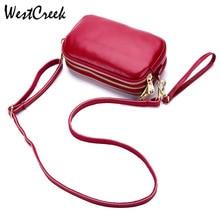 WESTCREEK Three layer Bag Ladies Messenger Zipper Pouch Soft Genuine Leather Ladies Bags Women Crossbody Handbag Purse Clutch
