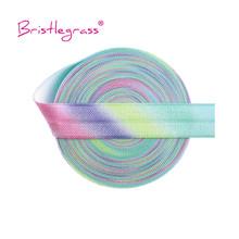 BRISTLEGRASS 5 Yard 5 8 #8222 15mm pastelowy nadruk tęcza FOE Fold Over Elastics satynowy spandeks Band opaska do włosów z pałąkiem na głowę sukienka obszywka do szycia tanie tanio 70 Chinlon 30 Spandex 5 8 (15mm) Pastel Rainbow