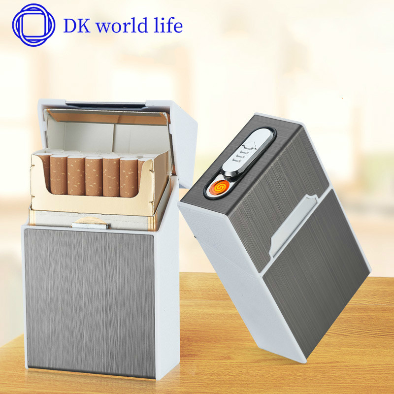 Cigarette Box Cigarette Lighter Charging Creative Wind and Moisture Proof USB Electronic Cigarette Lighter Cigarette Case