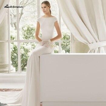 Lakshmigown, vestido de satén sencillo para mujer, vestidos de novia de sirena,...