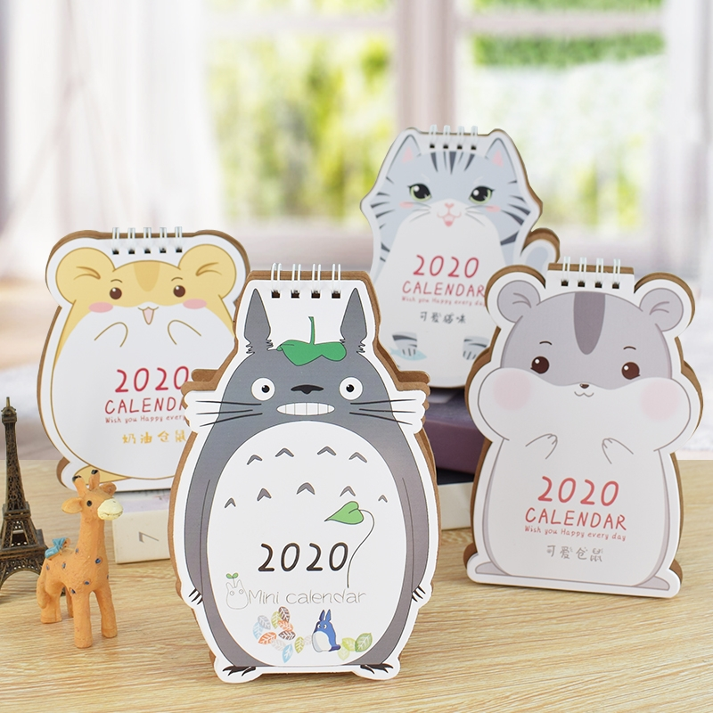 2020 Cartoon Hamster And Totoro Mini Desk Calendar DIY Table Calendars Daily Schedule Planner 2019.09-2020.12