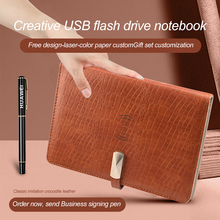 New Crocodile Leather Wireless Charging Notebook with And USB Memory Card Diary Notebook