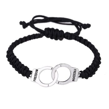 Handmade Weave Police Officers Handcuffs Freedom Justice Charm Fashion Bracelets N0HE image