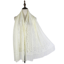 long lace shawls see through beach capes wraps summer stoles tassel pure color muffler hijabs women sweet lace crochet see through pure color blouse