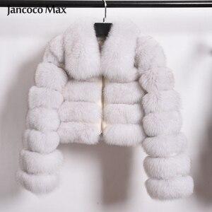 Image 2 - Damski Top Quality prawdziwy lis kurtki futrzane zimowy gruby krótki płaszcz puszysty płaszcz z pełnym rękawem miękki ciepły S7636