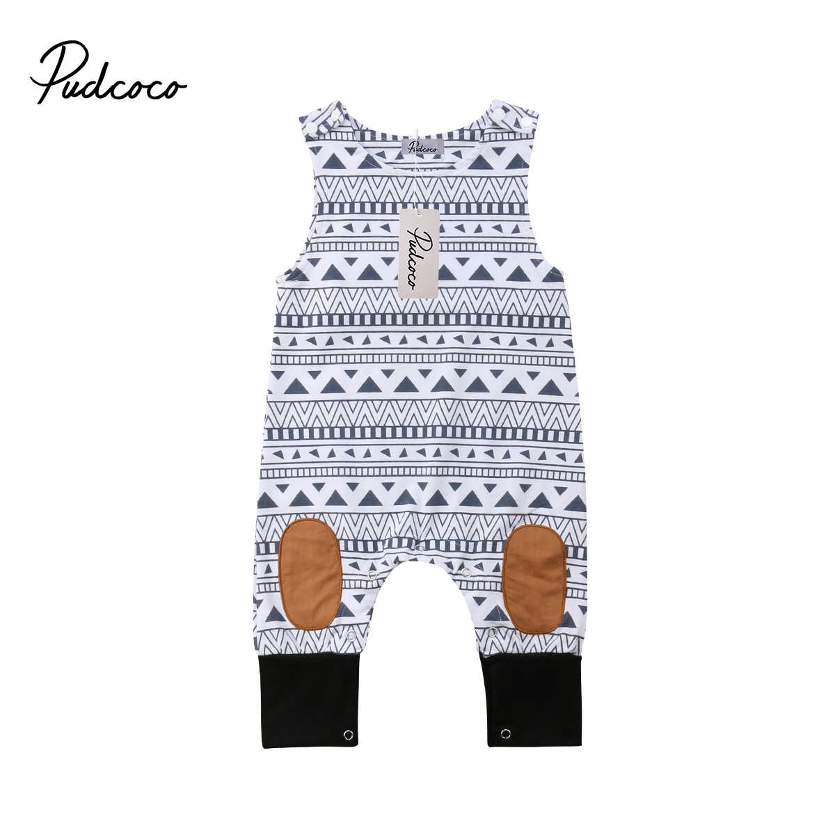 2019 Baby Summer Clothing Newborn Baby Boys Girl Romper Sleeveless Jumpsuit Outfits Patchwork Clothes Geometric Print Playsuit