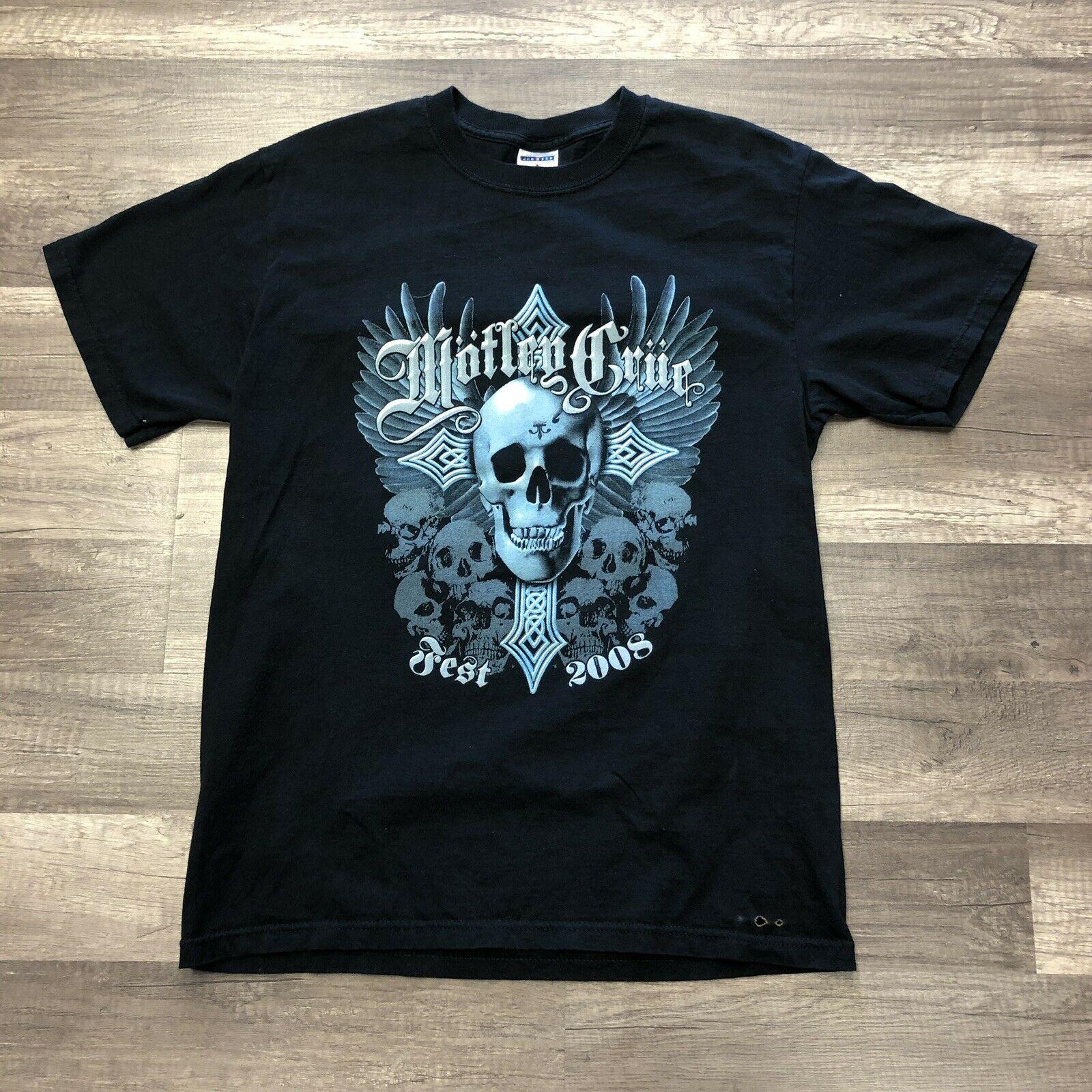 Rare Motley Crue 2008 Fest T-Shirt Papa Roach Trapt Buckcherry Sixx M Vtg Printed T Shirt 2018 Fashion Brand Top Tee