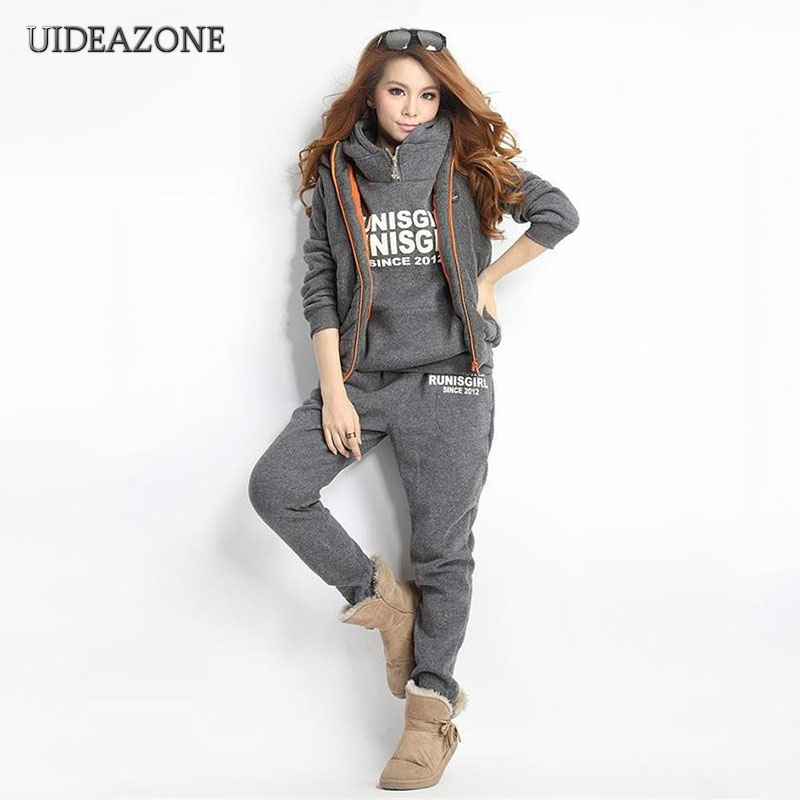 UIDEAZONE Letter Print Women Three Piece Set Warm Plus Size Long Sleeve Hooded Pullovers Vest Coats Pants Sets Woman Suits 6XL
