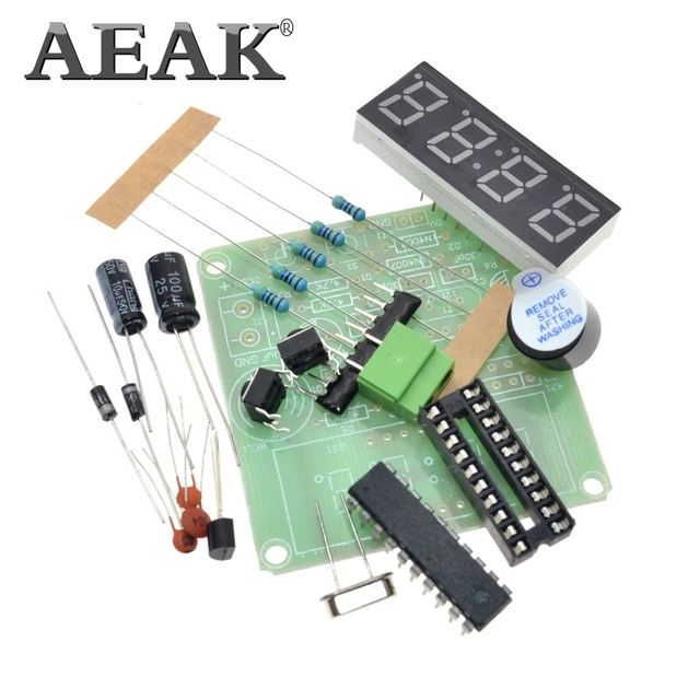 AEAK AT89C2051 Digital 4 Bits Electronic Clock Electronic Production Suite DIY Kit