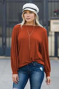 Image 5 - Louis jason nova camiseta feminina roupas quentes cor pura europeu gola redonda lanterna manga longa solta topo harajuku