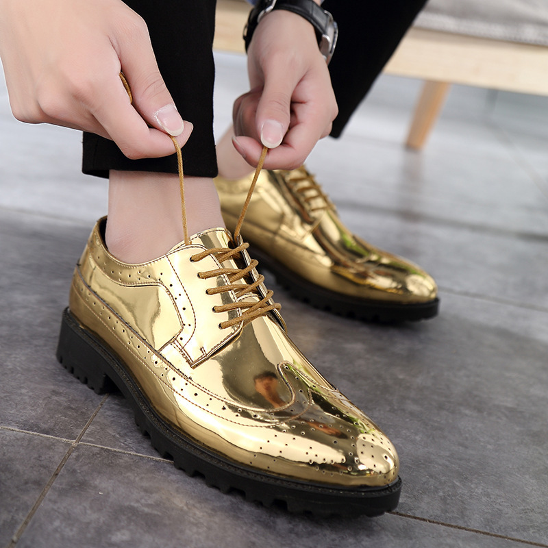 2019 Casual Leather Shoes Men Superstar Brogues Formal Leather Shoes Oxford Gold Shoes Lace-up Hombres Silver Large Size 47 Ghn