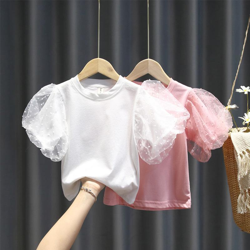 2020 Baby Girl Fashion Clothing  Cotton Puff Sleeve T-shirt  Clothes  Children Party Birthday Wear