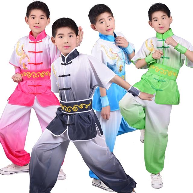 2019 roupas chinesas para crianças tai chi wushu crianças kung fu uniforme