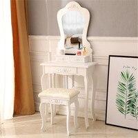 60cm Bedroom Ladies Makeup Dressers Modern Dressing Table Desk Stool Rose Relief Irregular Mirror 3 Drawers with Chair Set