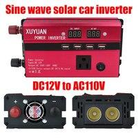 Vehemo 600W Peak DC12V To AC110V Auto Inverter Car Inverter Outdoor Red Aluminium Alloy Vehicle Solar Power Inverter LED