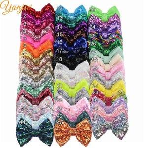 "Image 2 - 25pcs/lot 5"" Glitter Big Sequin Hair Bows Barrette Chic European Messy DIY Girls Hair Accessories Hair Clips For Women Rainbow"