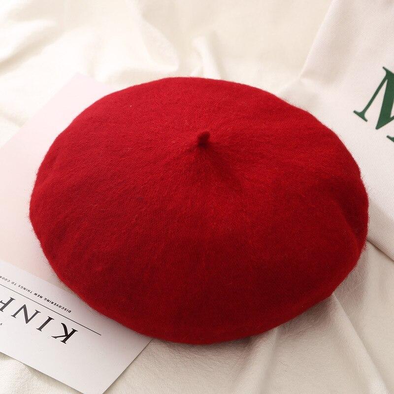 Женские береты на весну и зиму, шапка в стиле художника, женские шерстяные винтажные береты, однотонные кепки, женская шапка, теплая прогулочная шапка - Цвет: Red