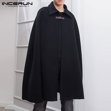 INCERUN 2021 Fashion Men Cloak Coats Solid Color One Button Lapel Cape Trench Streetwear Winter Faux Blends Overcoat Men Jackets