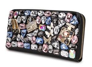 Image 3 - Hohe Qualität Luxus Diamant Blume Pu Leder Mode Geldbörse Karte Halter Lange Brieftaschen Frauen Clutch Tasche Geld Tasche Zipper tasche