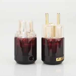 Image 3 - משלוח חינם זוג אחד 24k זהב מצופה P 079E Schuko האיחוד האירופי Plug + C 079 IEC נקבה מחבר עבור אודיו DIY