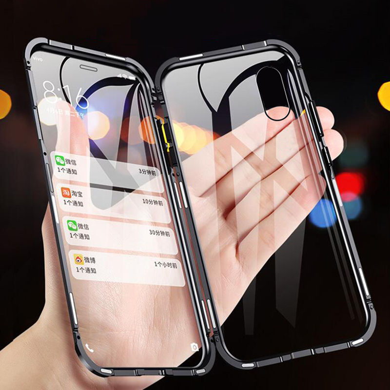 Double Side Glass 360 <font><b>Magnetic</b></font> Adsorption Metal <font><b>Case</b></font> For <font><b>iphone</b></font> XR X XS Max 7 <font><b>8</b></font> 6 6S Plus Shockproof Front+back Tempered Glass image