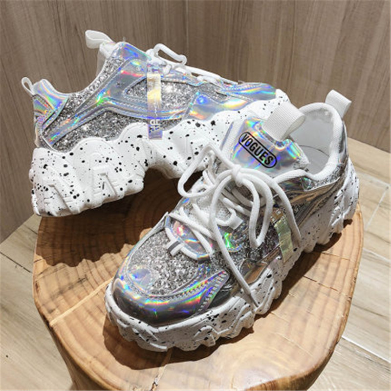 Spring Women's Chunky Sneakers Fashion Women Platform Shoes Bling Sequined Lace-Up Vulcanize Shoes Female Trainers Dad Shoes