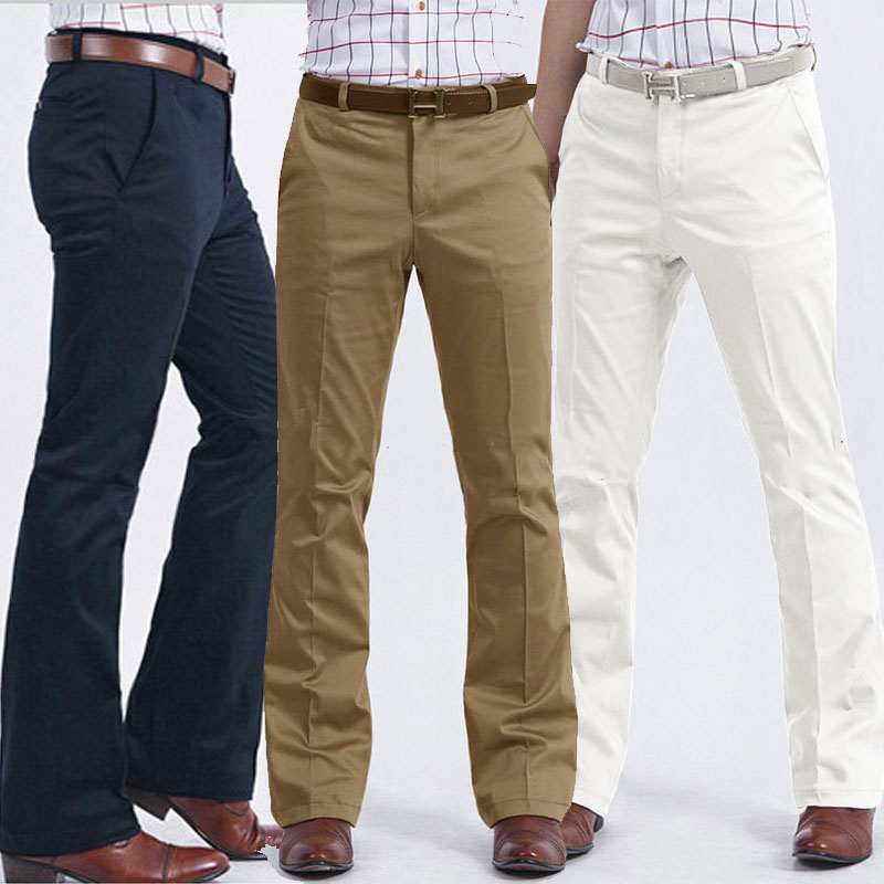 Color: White Khaki Black Navy Blue Gray 2020 Men's Business Casual Flare Pants Slim-free Trousers Male Korean Wide-leg Pants