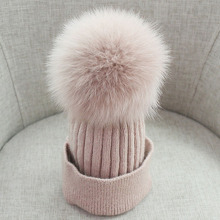 Big Fox Ball Winter Hat for Child and Women Beanie Knitted Fashion Wool Warm Ladies Solid Pink Kids Outdoor Caps