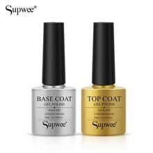 Supwee Nail Top Coat UV Gel Base Coat 10ml UV Gel Nail Vernis Semi Permanent 2PCS Set Brilliant Top No Wipe with Box
