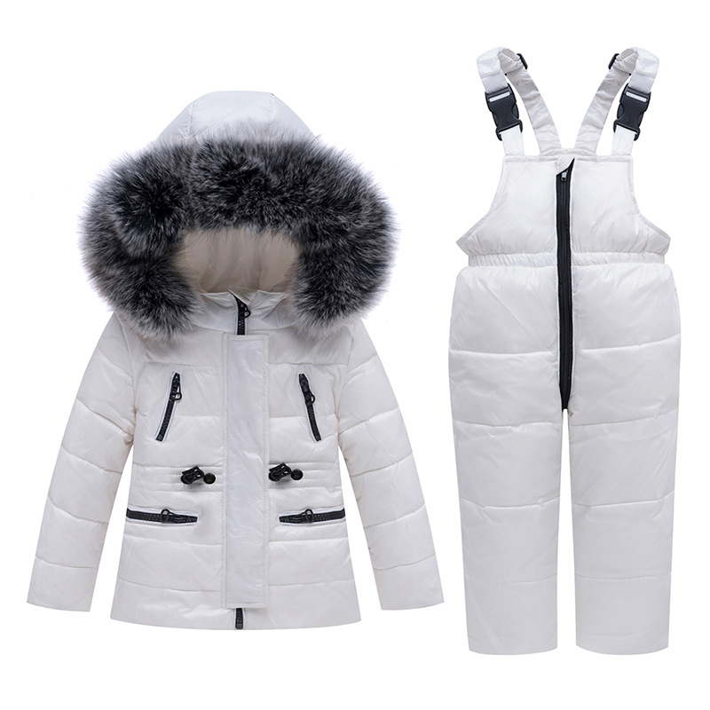 -30 Degree Winter Kids Clothing Sets Fur Collar Down Coats + Overalls Children Warm Snowsuit For Girls & Boys 1-5 Years