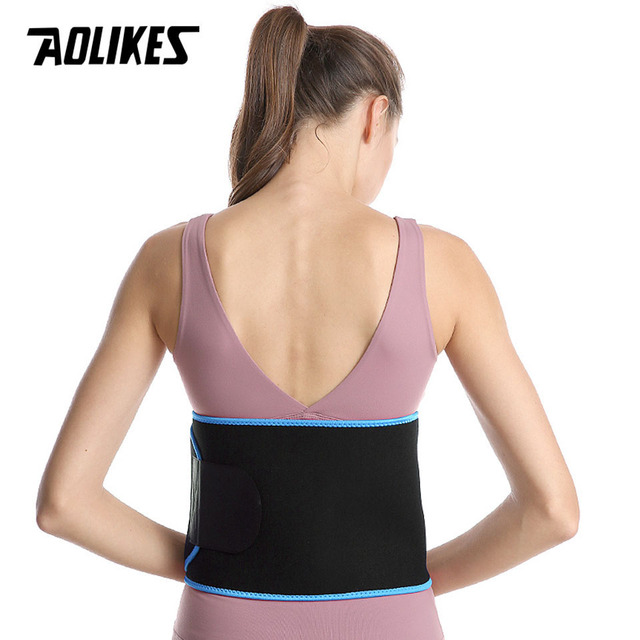 AOLIKES Sports Waist Trimmer Belt Slim Weight Loss Sweat Band Lumbar Brace Support Gym Accessorie Weightlifting Training Fitness 2