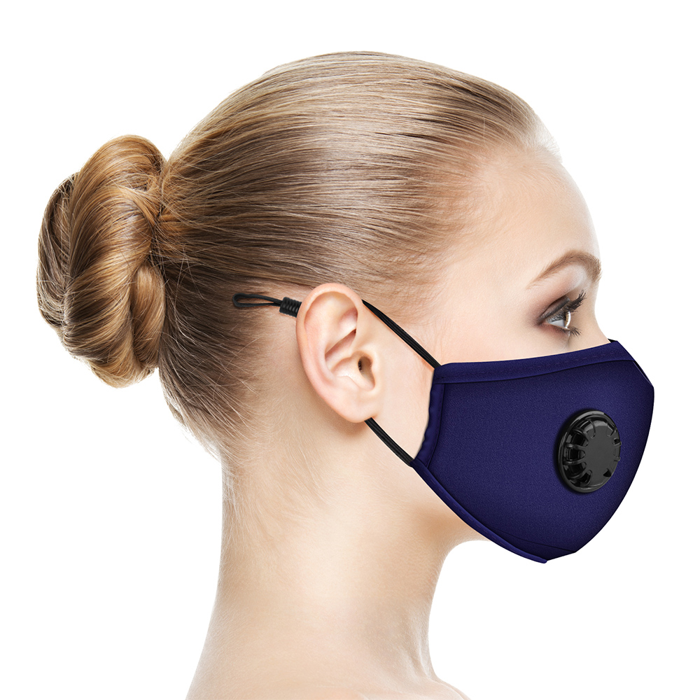 PM2.5 Breath Valve Mouth Mask Dust Proof Washable Reusable Masks Cotton With 1 Filter Unisex Mouth Muffle For Man Women