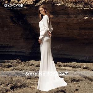 Image 3 - BECHOYER Simple Long Sleeve Wedding Dress 2020 Fresh Backless Mermaid Train H Quality Customized Bride Vestido de Noiva AB35