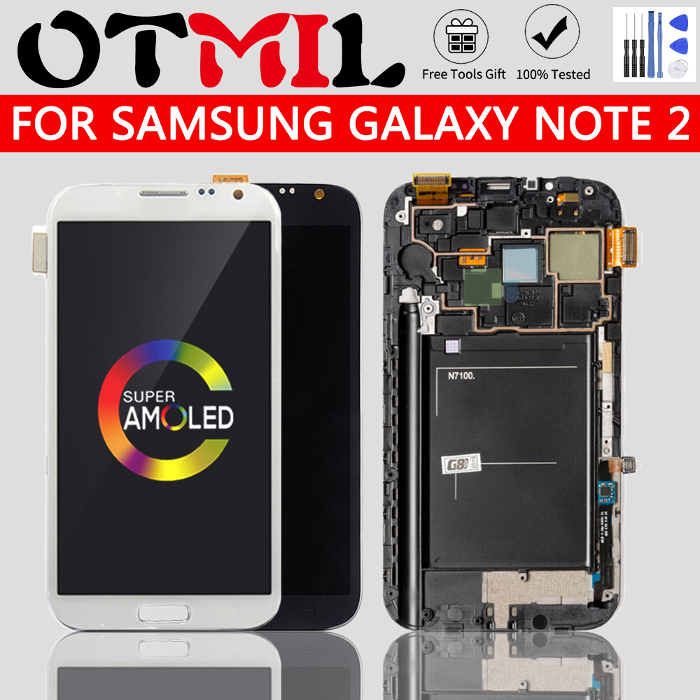 OTMIL AMOLED LCD Replacement For Samsung Galaxy Note2 Note 2 N7100 LCDs Screen Display With Frame Touch Digitizer Assembly Glass image