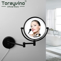 Matte Black Mirror Led Bathroom Wall Mounted Foldable Easy To Use Vanity Mirror Rotated Stainless Steel Mirrors