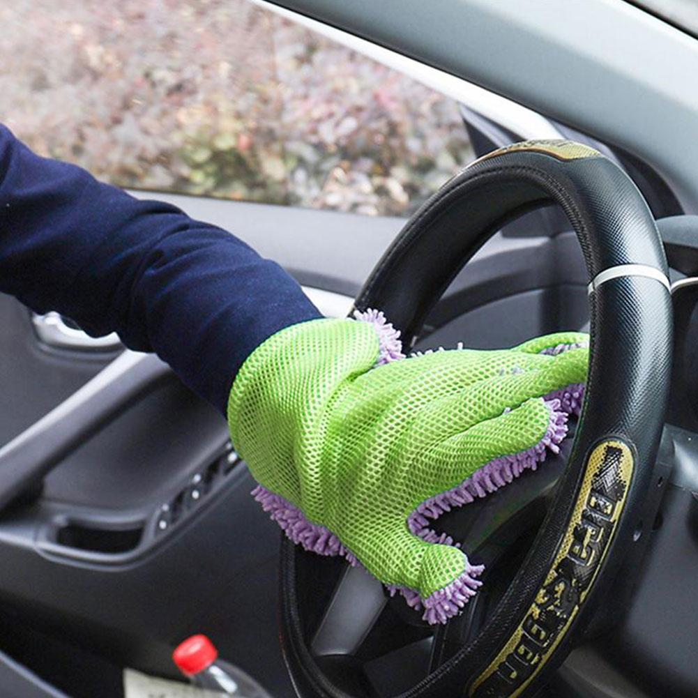 Vehemo пять пальцев коралловый флис Чистка стирка автомобиля перчатки Микрофибра Мыть варежки универсальные принадлежности для полировки