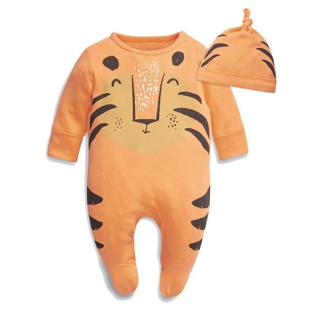Baby Boys Girls Tiger Cat Lion Animals Cartoon Footed Jumpsuit Romper Onesies with Hat 2