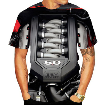 2020 new summer mens T-shirt motorcycle punk clothing retro clothes mechanical tops funny 3D