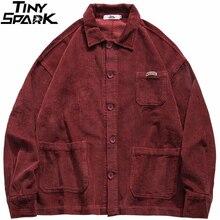 Corduroy Jacket Coat Button Hip-Hop Retro Vintage Autumn Blue Mens Loose Red