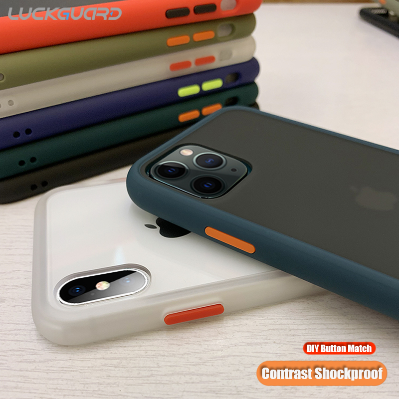 À prova de choque Silicone Bumper Case Para iphone 5 11 Xs Pro Max Xr X Tampa Transparente 360 Matte Protetora Para iPhone 7 8 mais Fundas