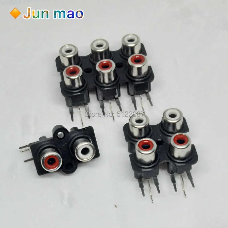 5Pcs 6 holes RCA Female Stereo audio Jack AV Audio input socket connector IJH/_gu